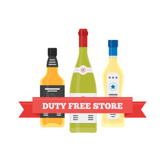 Vector flat icon of Duty Free alcohol at airport