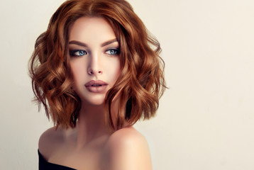 Poster Kapsalon Beautiful model girl with short hair .Woman with red curly hair. Red head .