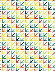 Colorful chicken footprint seamless pattern on fabric, wallpaper, wrapping paper