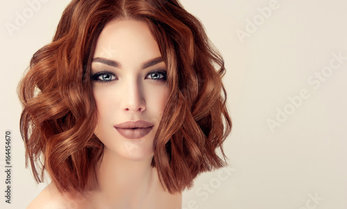 Beautiful Model Girl With Short Hair Woman With Red Curly Hair Red