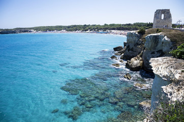 Torre dell' orso sea and tower view, Salento, Puglia, Italy