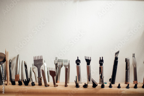 Leather Craft Tools On A White Background Leather Craftmans Work