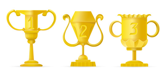 Set of different golden bowls champion award trophy. Vector champion cup sign