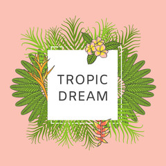 Summer tropical background vector. Exotic floral poster template. Fashion print for woman t-shirt clothing design, greeting card, wedding invitation, web beauty shop banner or spa salon flyer.