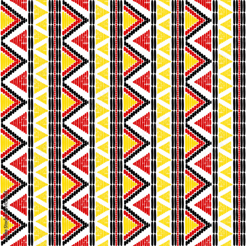 Tribal Pattern Vector Seamless Border Ethics African Uganda