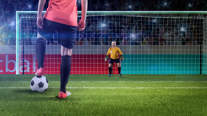 female soccer player prepairing to take penalty
