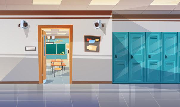 Empty School Corridor With Lockers Hall Open Door To Class Room Flat Vector Illustration