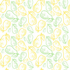 Seamless Pattern Pears Fruits Summer Ornament Background Vector Illustration