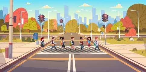 Group Of School Children Crossing Road On Crosswalk With Traffic Lights Flat Vector Illustration