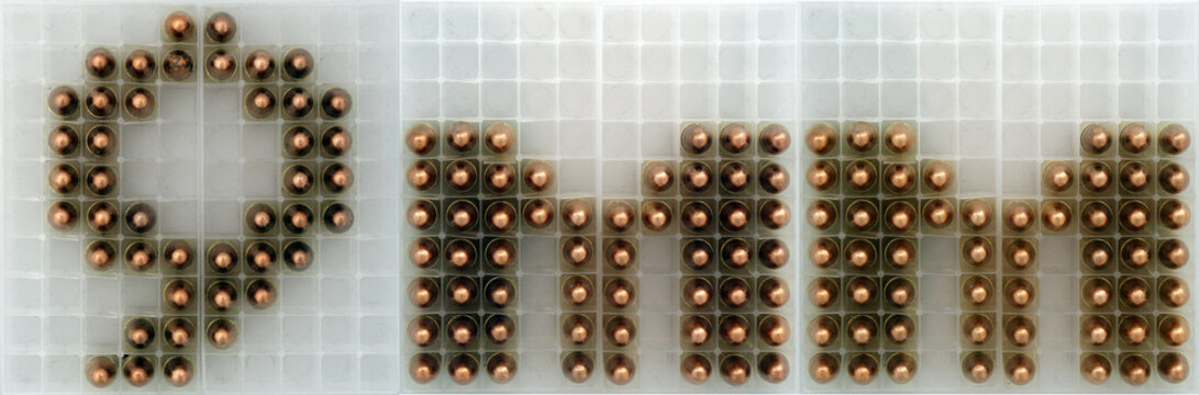 9mm round sign made set on an ammo tray