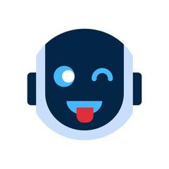 Robot Face Icon Smiling Face Showing Tongue Emotion Robotic Emoji Vector Illustration