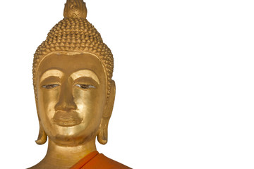 close up face of buddha isolated on a white background - clipping paths