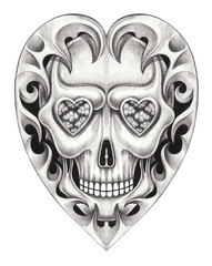 Art heart skull tattoo.Hand pencil drawing on paper.