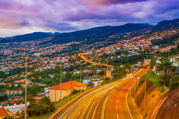 Wall Mural - Highway roads in Funchal, capital of Madeira Island, Portugal