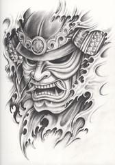 Samurai warrior tattoo design.Hand pencil drawing on paper.