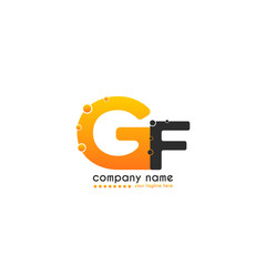 Initial Letter GF linked design with bubble in orange color. Vector icon symbol logo illustration eps10