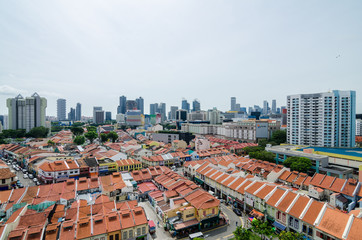 Little India, Singapore – Feb 5, 2017: Aerial view of Little India. Little India is the area bounded by Serangoon Road. It is rich in architecture, culture and history. It is also known as 'Tekka'