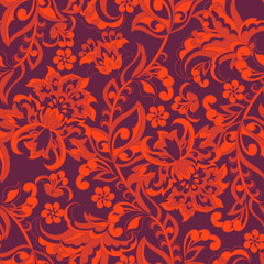 Seamless pattern with ethnic flowers. Vector Floral Illustration