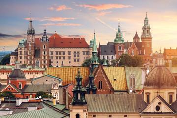 Autocollant pour porte Cracovie Collage of Krakow landmarks in the evening