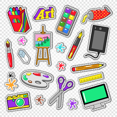Art Tools Doodle. Painting Stickers with Paints, Digital Graphic Device and Photo Camera. Vector illustration