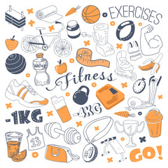 Hand Drawn Sports Doodle. Freehand Fitness Elements Set. Healthy Life. Vector illustration