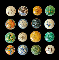 set of ethnic decorative plates decorated in oriental style