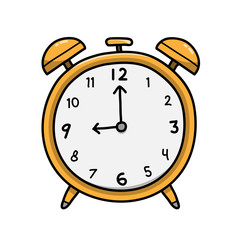 Analog Alarm Clock, a hand drawn vector doodle illustration of an alarm clock.