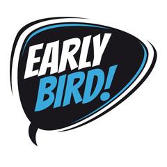 early bird retro speech balloon