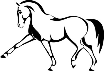 A logo with a trotting horse.