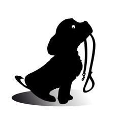 silhouette of a sitting dog holding it's leash in it's mouth, patiently waiting to go for a walk.
