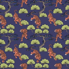 Vector seamless pattern with tigers in Japanese style. Hand drawing. Decorative background for design