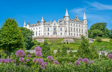 Dunrobin Castle in a sunny day, Sutherland county, Scotland.