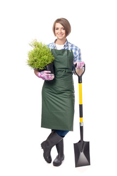 woman professional gardener isolated on white background