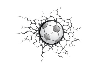 Soccer ball smash the white wall with cracks hole. Texture design of a white background. Sport Football vector for tournament.