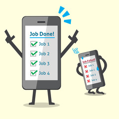 Business concept cartoon smartphone completed jobs and another one uncompleted