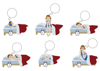 Cartoon compositions of young girl in night sleepless and morning awakening in flat design. Vector illustration of character set.