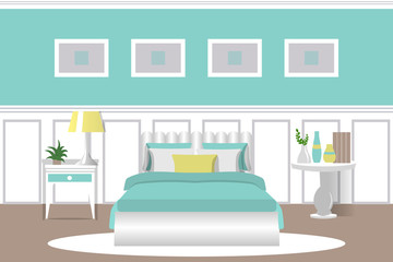 The interior of the bedroom. Cartoon. Flat design. Vector illustration. Furniture for the room.