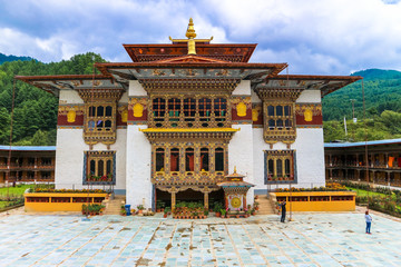 Bumthang, Bhutan - September 13, 2016: Traditional Bhutanese temple architecture in Bhutan, South Asia.