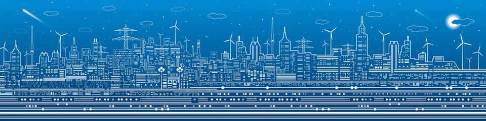 Night city panorama, town infrastructure illustration, ferris wheel, modern skyline, white lines on blue background, vector design art