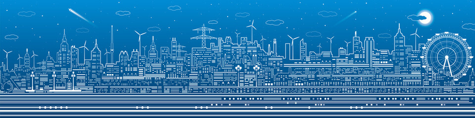 Fototapete - Night city panorama, town infrastructure illustration, ferris wheel, modern skyline, white lines on blue background, vector design art