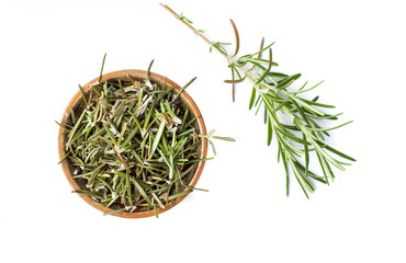 Rosemary plant in a wooden bowl isolated