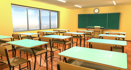 Empty classroom with chalkboard, chairs and 
