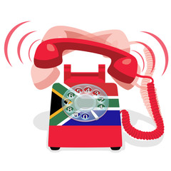 Ringing red stationary phone with flag of Republic of South Africa