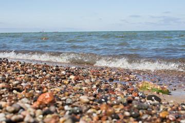 beautiful stones on the sea beach