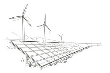Solar Panels  and Wind Turbines hand drawn sketch. Vector.