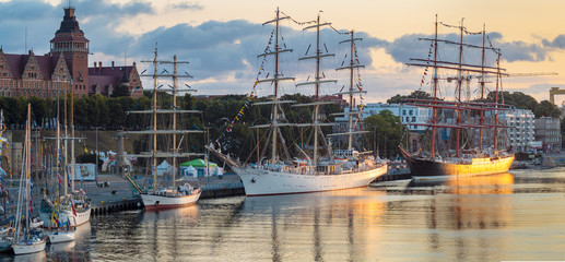 sailing ships at the wharf in Szczecin, Tall Ships Races