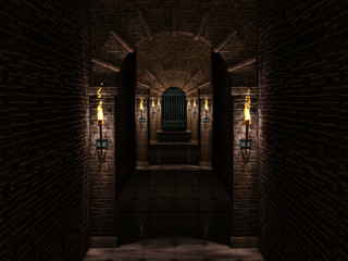 Medieval corridor and iron castle gate