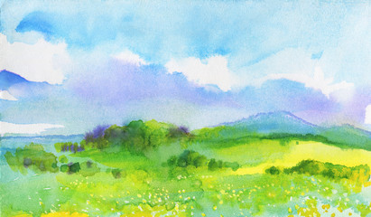 Aluminium Prints Lime green Watercolor landscape with mountains, blue sky, clouds, green glade with dandelion. Hand drawn nature european background. Painting countryside illustration
