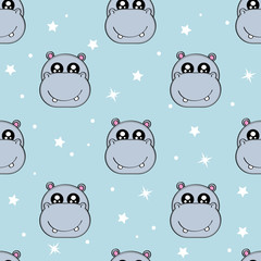 Cute kids pattern for girls and boys. Colorful hippo, stars on the abstract background create a fun cartoon drawing. The background is made in pastel colors. Urban backdrop for textile and fabric.