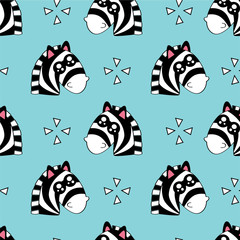 Cute kids pattern for girls and boys. Colorful zebra, stars on the abstract background create a fun cartoon drawing. The background is made in pastel colors. Urban backdrop for textile and fabric.